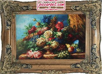 فرش تابلو گل و گلدان با قاب چوبی