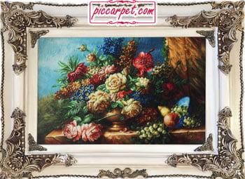تابلوفرش طرح گل و میوه چاپی