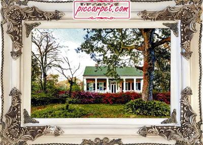 تابلو فرش خانه باغ با قاب چوبی سفید