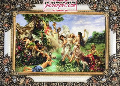 فرش تابلو طرح فرشتگان با قاب شاپرک