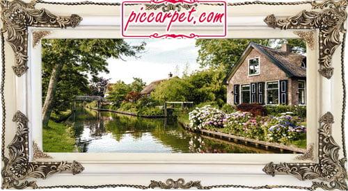 تابلو فرش خانه کنار رود با قاب چوبی سفید