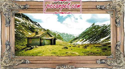 فرش تابلو منظره کوهستانی با قاب چوبی قهوهای