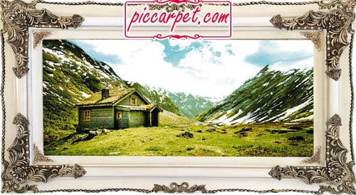 تابلو فرش کوهستان با قاب چوبی سفید