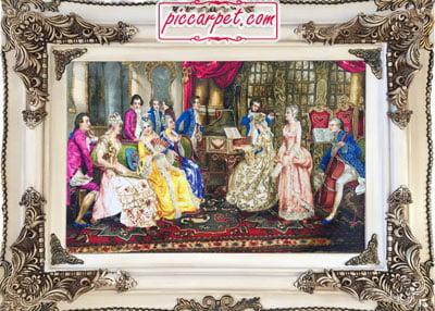 تابلو فرش نوازندگان به همراه قاب چوبی