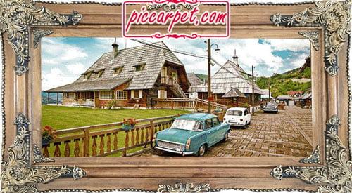 فرش تابلو طرح ماشین کلاسیک با قاب چوبی قهوهای