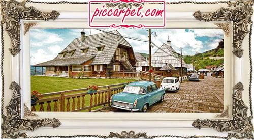 تابلو فرش اتومبیل قدیمی با قاب چوبی سفید