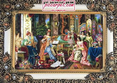 فرش تابلو طرح فرانسوی نوازنده با قاب شاپرک