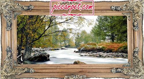 فرش تابلو جنگل و رود با قاب چوبی قهوهای