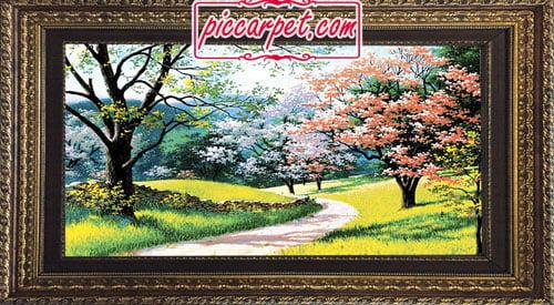 تابلو فرش منظره بهار با قاب پروفیلی