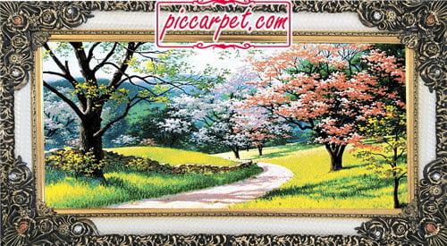 فرش تابلو شکوفه بهار با قاب شاپرک