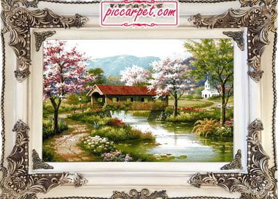 تابلو فرش بهار با قاب چوبی سفید