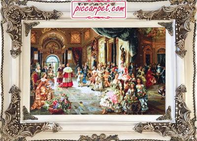 تابلو فرش مهمانی پاپ به همراه قاب چوبی
