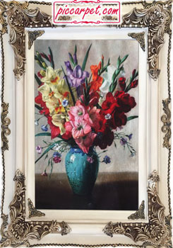 تابلو فرش گل و گلدون چاپی