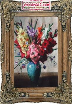 فرش تابلو طرح گل و گلدان با قاب چوبی