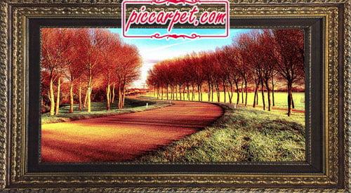 تابلو فرش طرح منظره پاییز با قاب پروفیلی