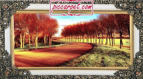 فرش تابلو درختان پاییزی با قاب شاپرک